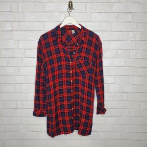 H & M Divided Red Plaid Popover Shirt Dress